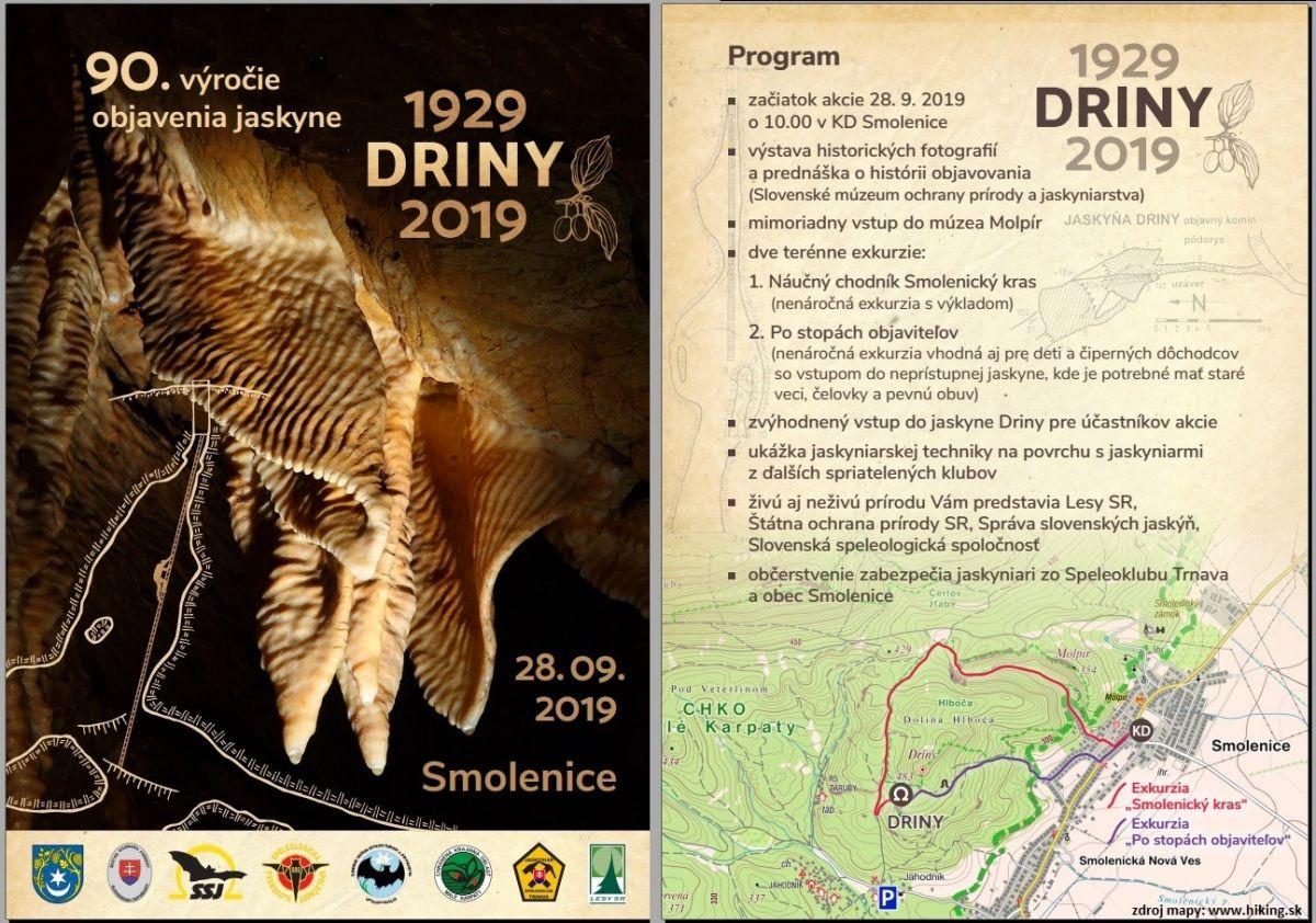 výročie, 90. výročie objavenia jaskyne Driny, Slovenská speleologická spoločnosť, Slovenská speleologická spoločnosť